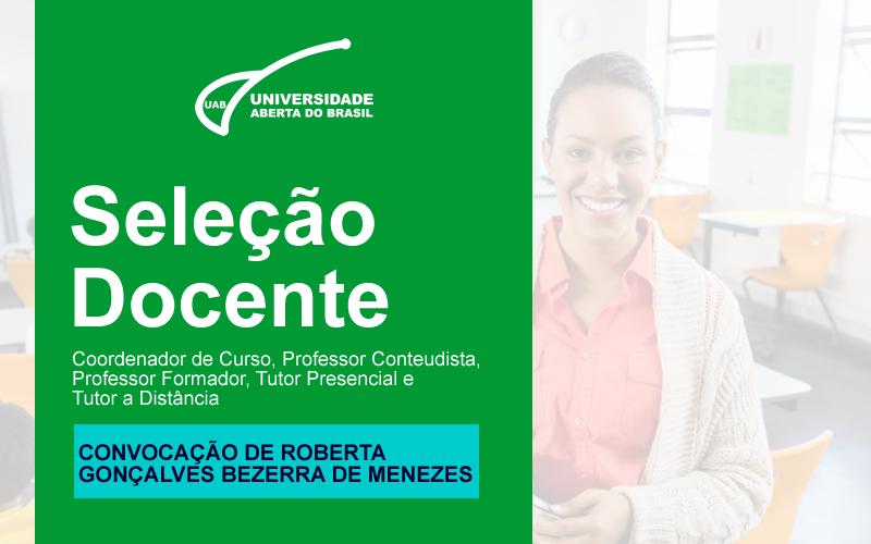 Convocação de Roberta Gonçalves Bezerra de Menezes